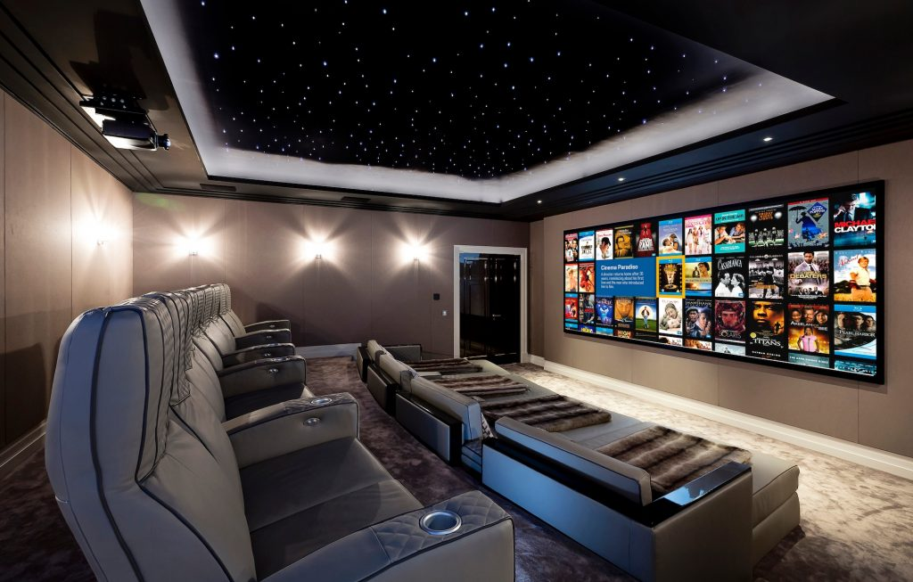 Home cinema with screen and lighting