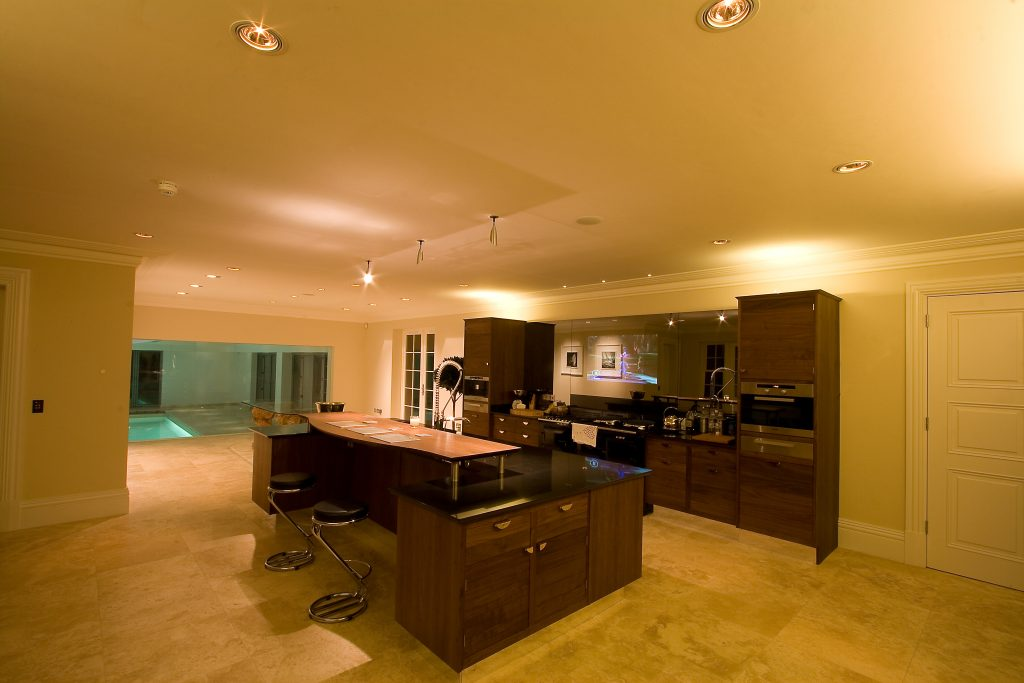 Kitchen with audio, lighting and recessed TV