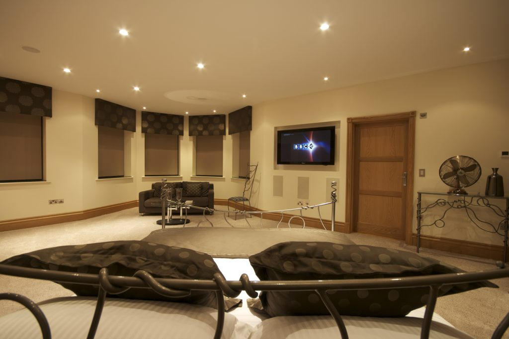 Media room in bedroom as part of the home technlogy solution.