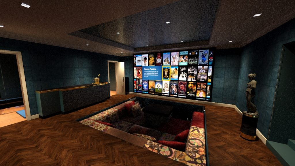 Home Cinema Room Design, wtih champage bar and sunken seating.