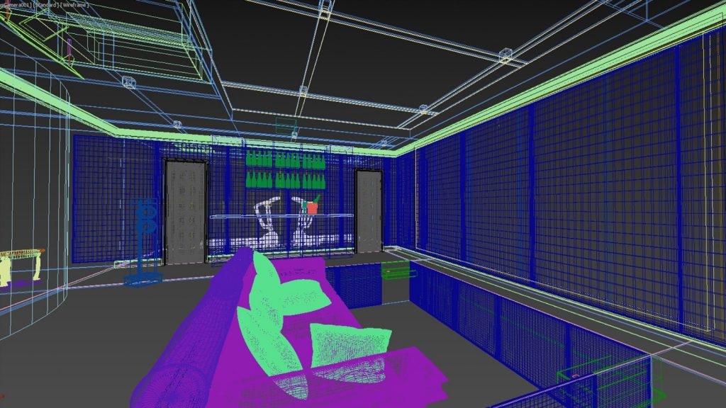 Home cinema design in wireframe, looking from side right of seating.