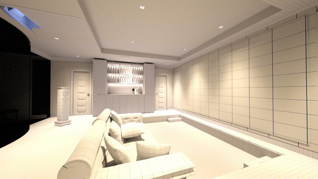 Home cinema, mid design. Looking at the room from right hand side across cinema seating.