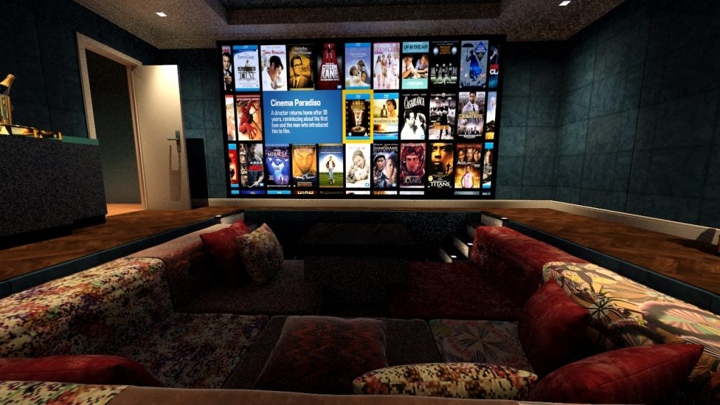 Home cinema room viewed from sunken seating area, screen shows Kaleidescape movie server.