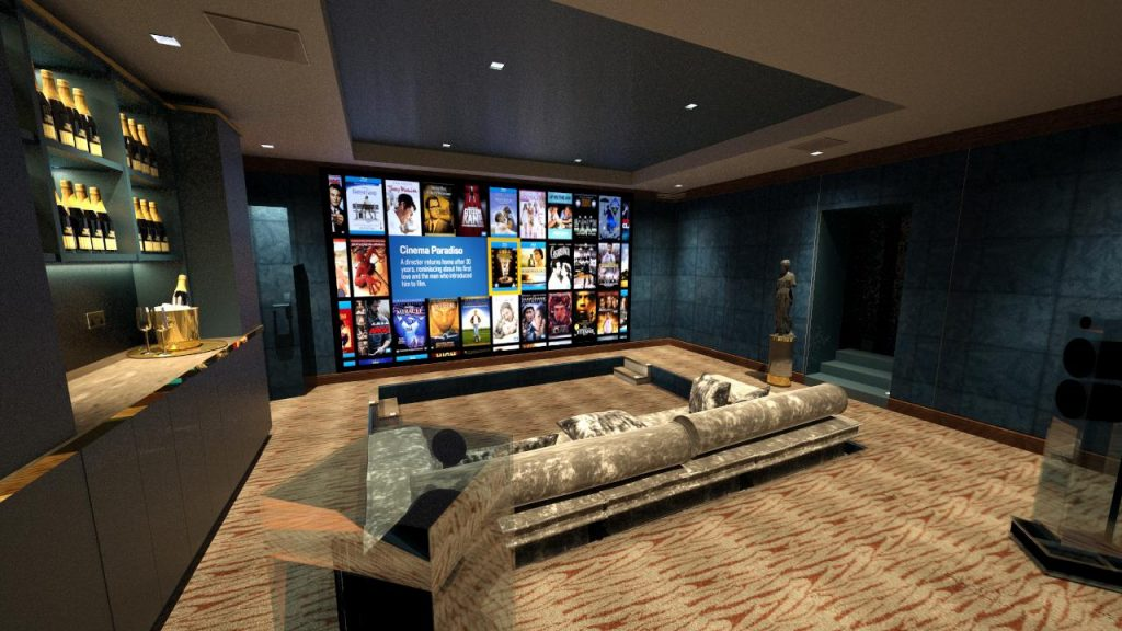 Cinema design, view of screen from left hand side.