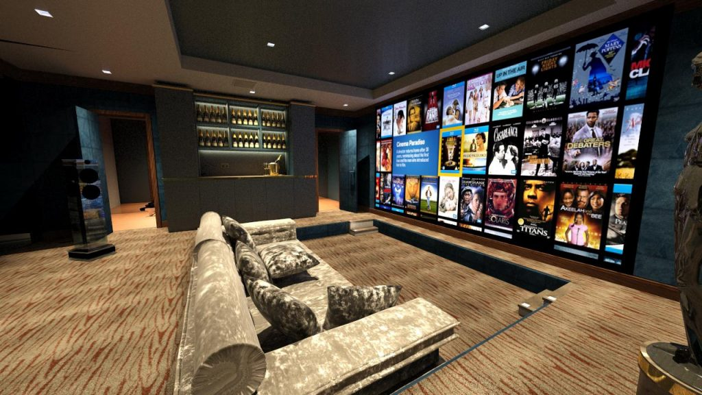 The art and science of great home cinema design. Home cinema room with projector, screen and sunken seating.