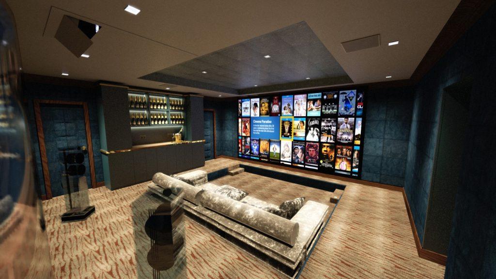 Showing cinema room from behind Waterfall loudspeaker, towards screen.