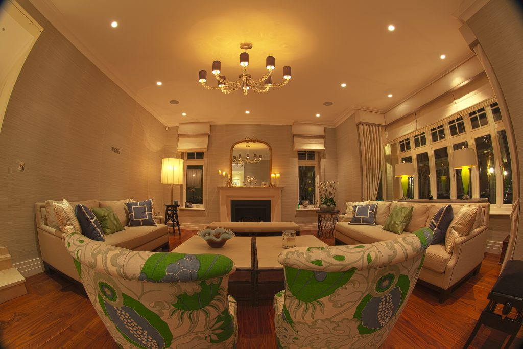Smart home technology in lounge, shows speakers, lighting and motorised blinds