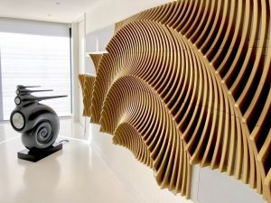 A high fidelity audio room by AV expert company, Imagine This. Image shows loudspeaker and acoustic treatment.