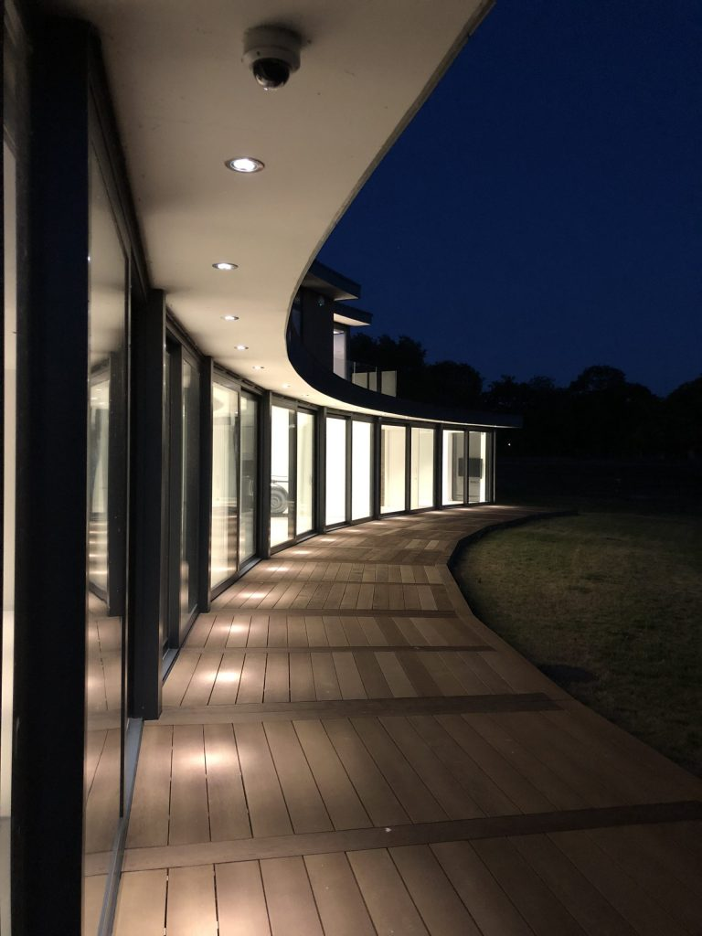 Outside lights creating pathway