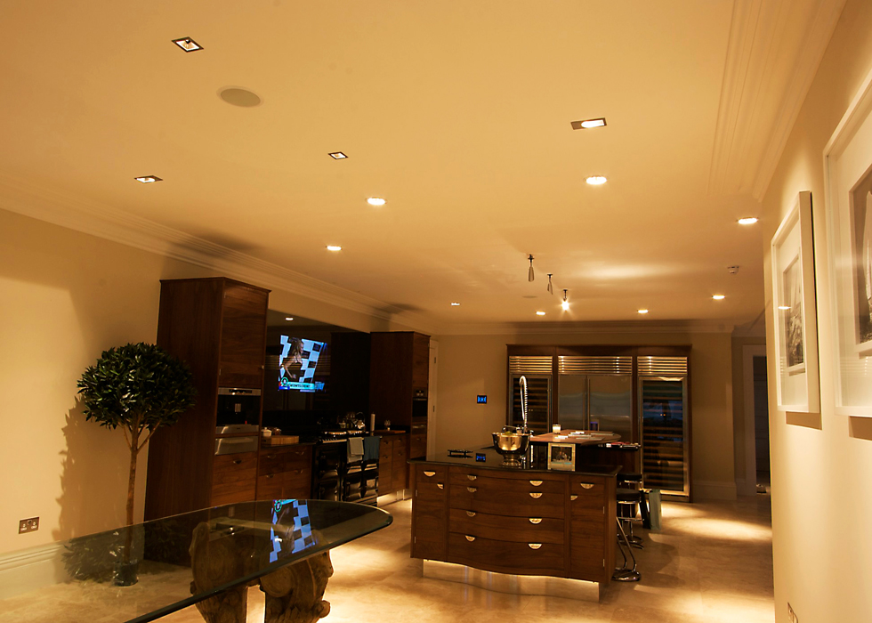 Kitchen with Deltalight Fittings and Loudspeakers