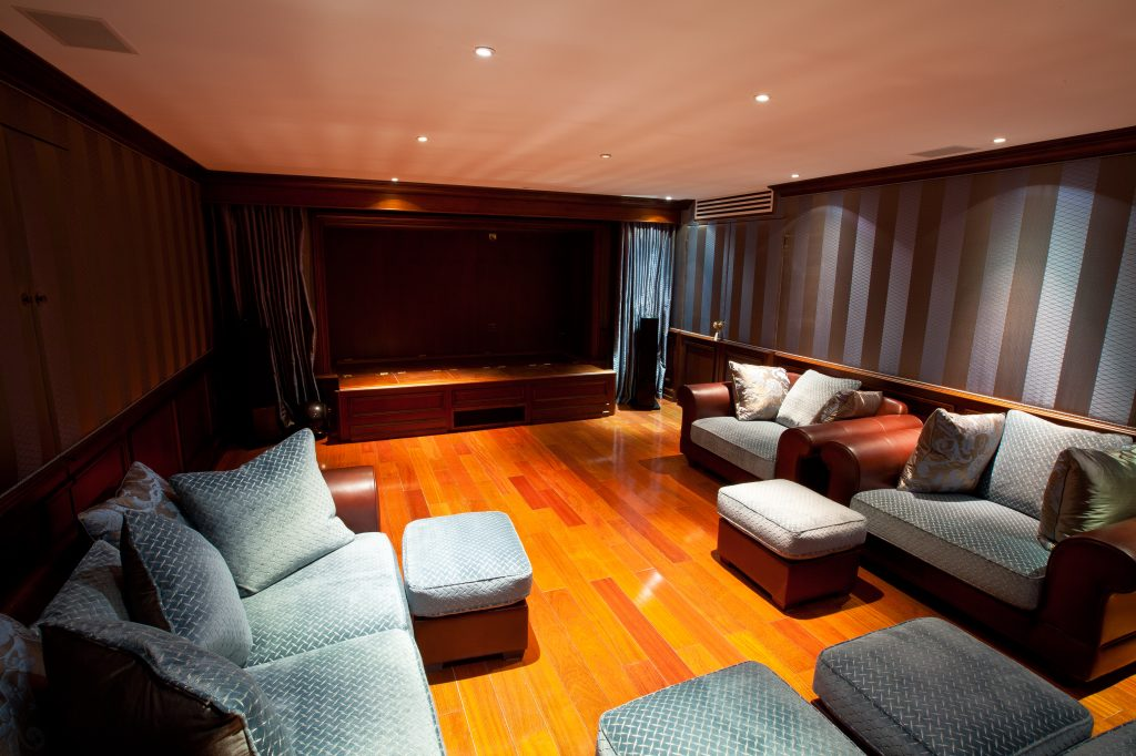 Home cinema room with stage
