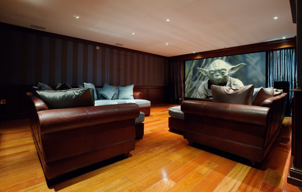 Screen from rear right low - home cinema