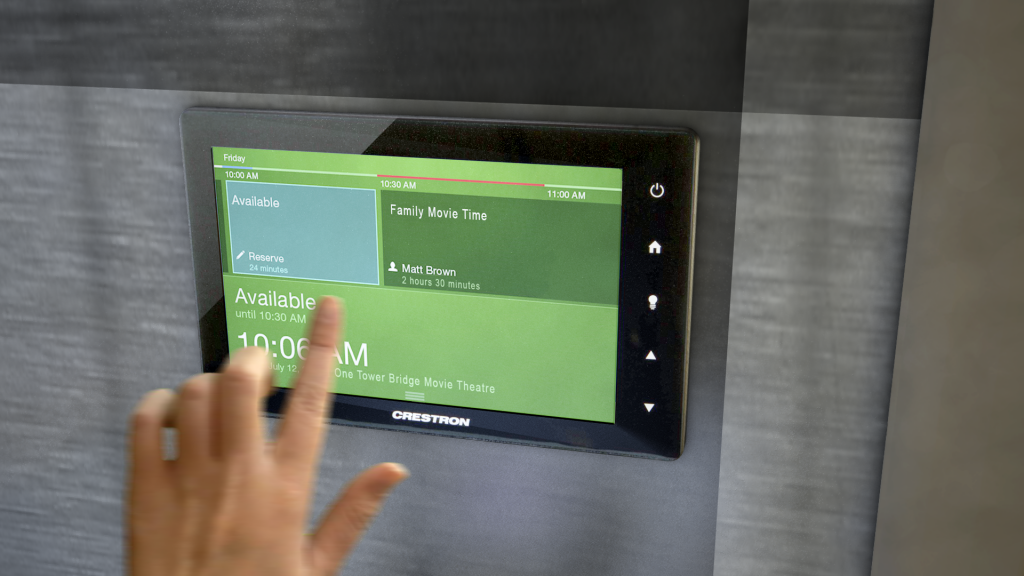 Shows Crestron touchpanel booking system for private Residents Cinema