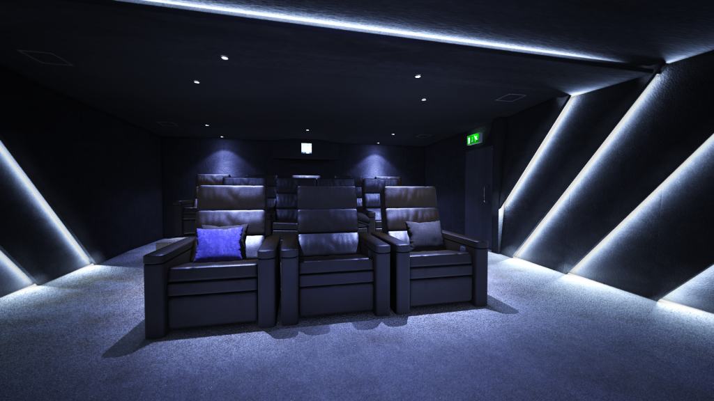 View from the screen towards the projector, showing black leather home cinema seats in private residents cinema..