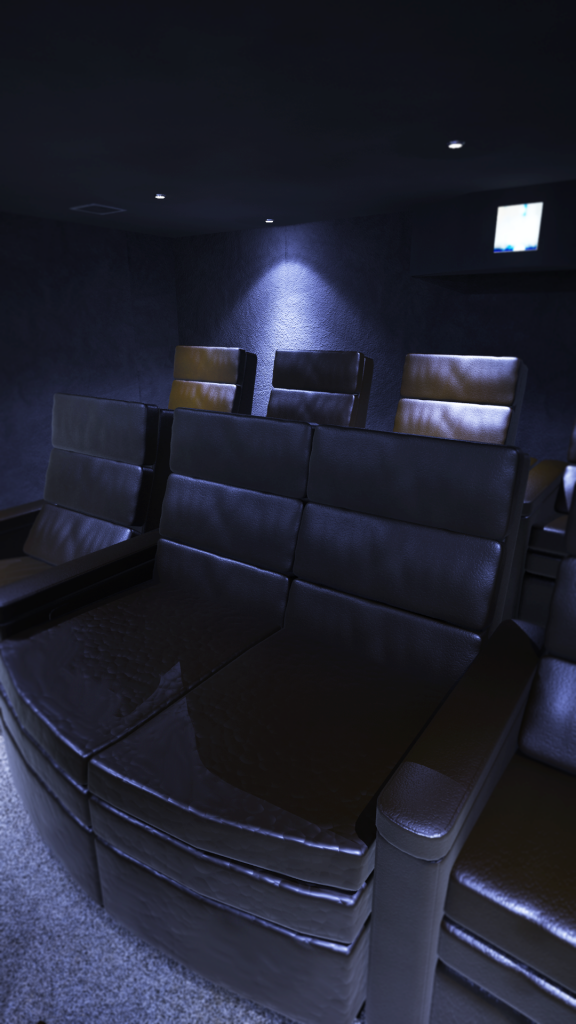 Leather home cinema seats in communal screening room.