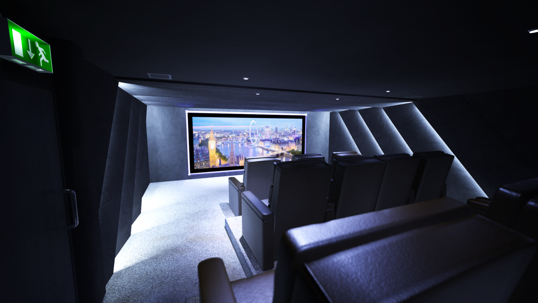 View from the rear left of the residents cinema towards the screen. Also shows home cinema seats and home cinema lighting.