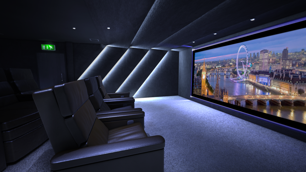 Shows communal theatre screen from side right, also leather cinema seats and dimmed lighting.