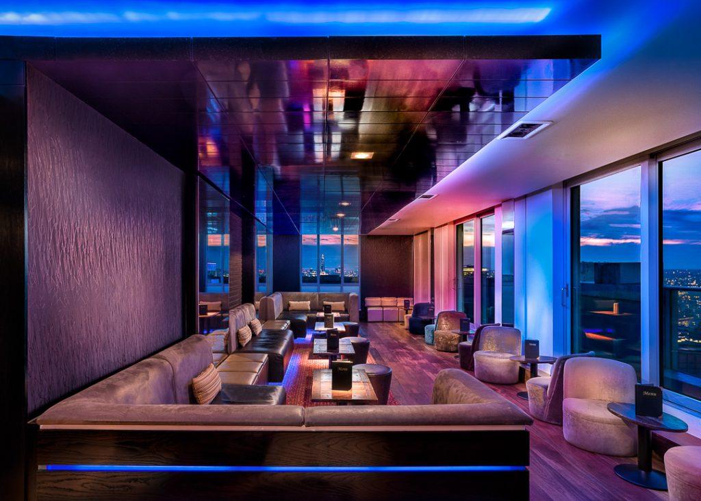 Shows lighting in bar.