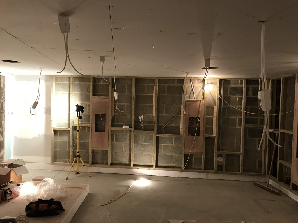 Home cinema construction - side wall and wiring