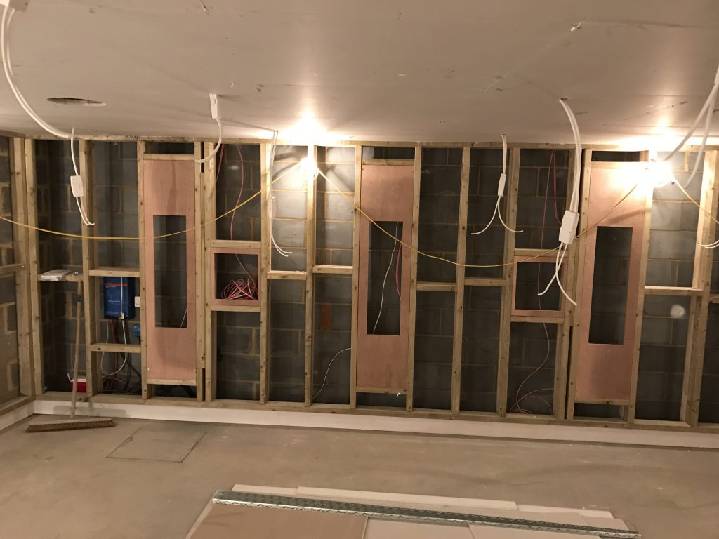 Home cinema mid-build. Shows baffle wall being constructed.
