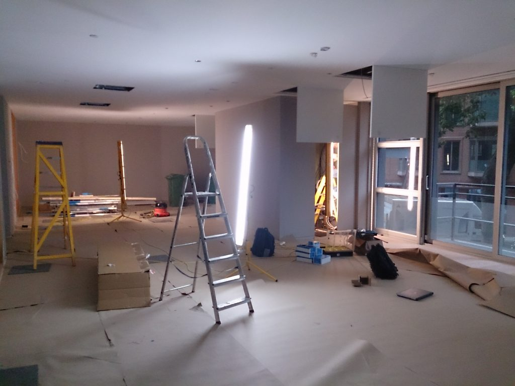 Shows building work on reception area, where we installed Lutron dimmer.