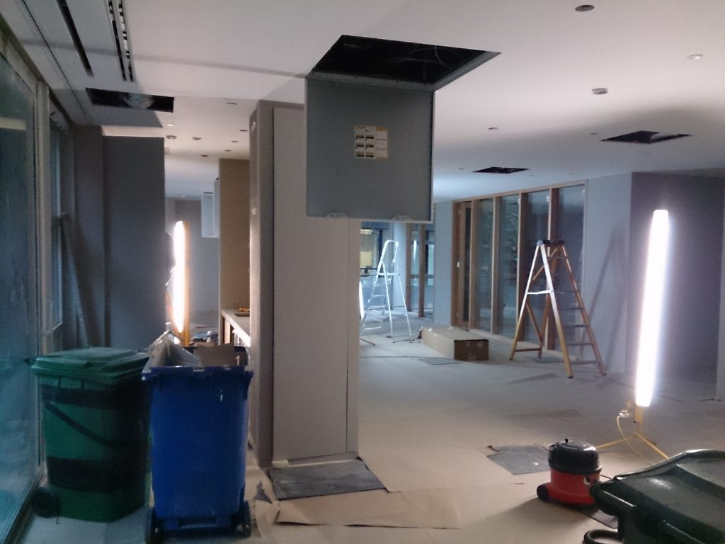 Rennovation of reception and meeting rooms with Lutron dimmer.