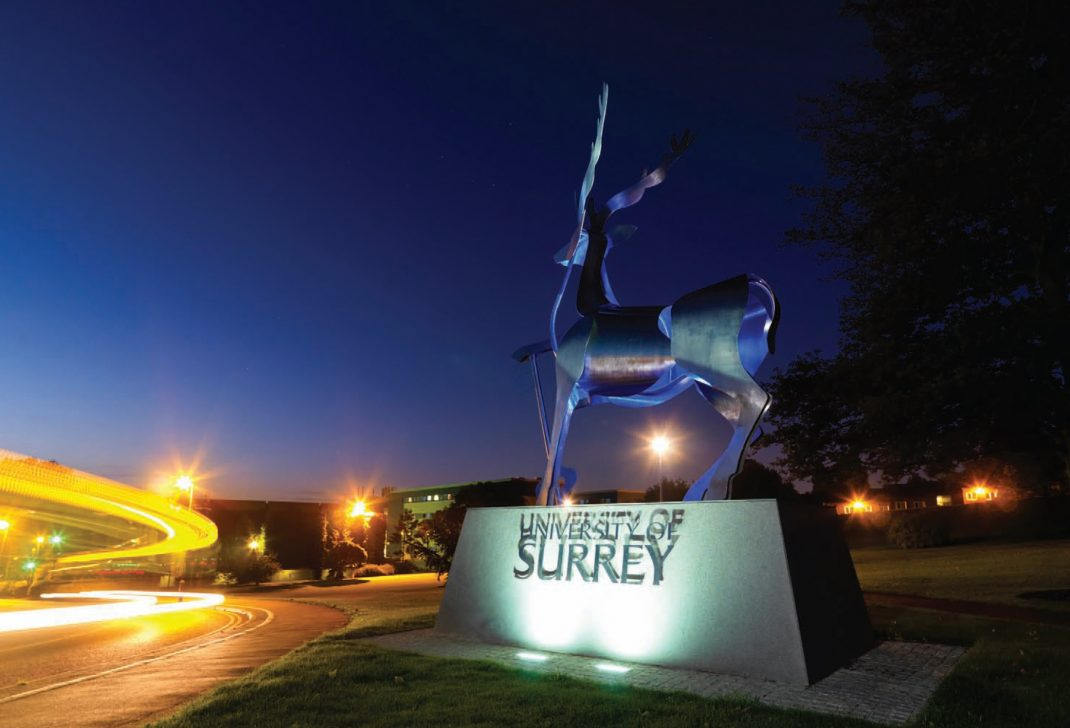 Shows entrance to University of Surrey