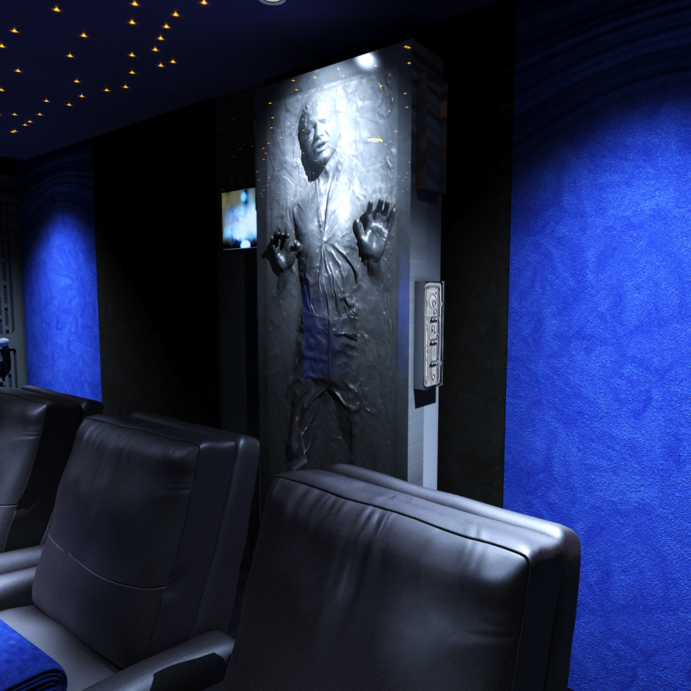 Shows the rear of the home cinema, seating and Han Solo in Carbonite feature.
