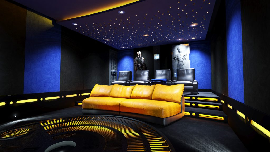 Shows cinema seating, looking from screen towards projector. Home cinema design includes aesthetic elements.
