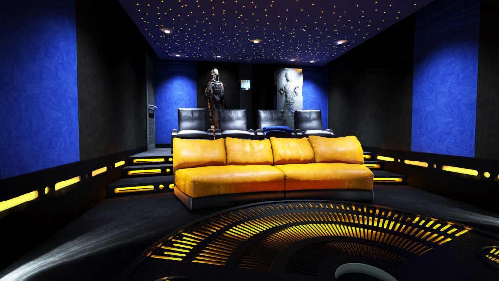 Image shows rear of home cinema, black and yellow seating, space feature lighting and projector.