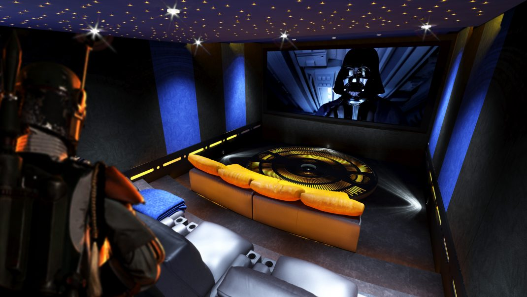 Image shows view from rear of star wars style cinema, towards the screen. Home cinema lighting, seating and acoustic treatment.
