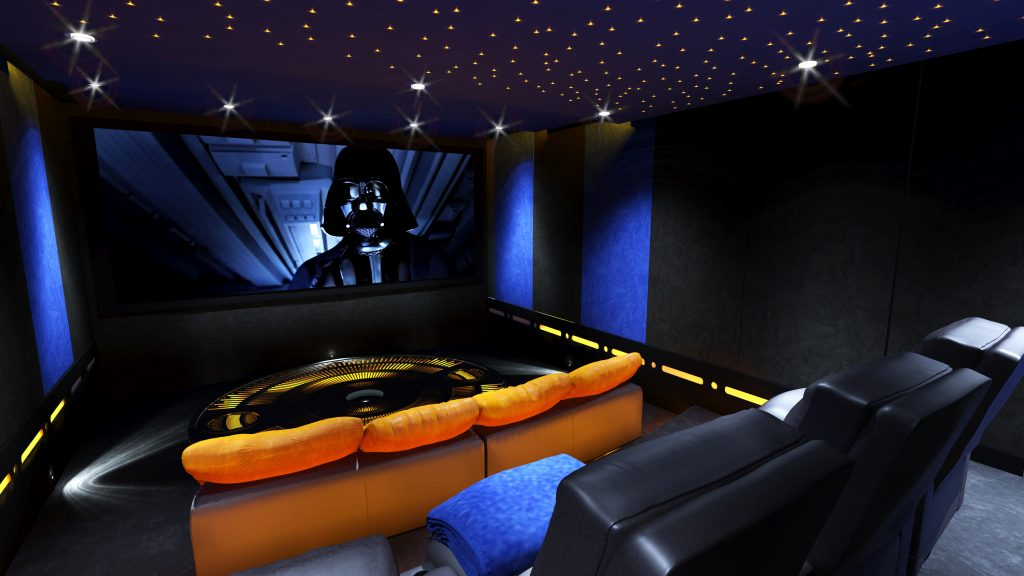 Themed home cinema room, with leather seating, futuristic lighting and acoustic treatment.